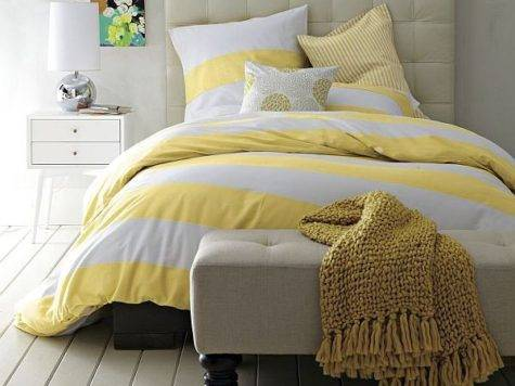 Striped Duvet Cover Shams White Citron