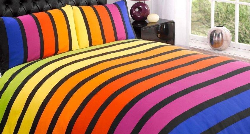 Striped Multi Coloured Printed Duvet Cover Bedding