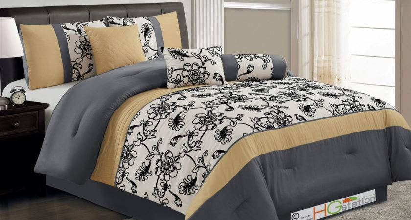 Striped Oasis Floral Garden Comforter Set Yellow Gray