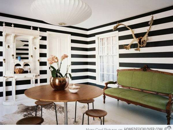 Striped Wall Accents Dining Room Designs Home