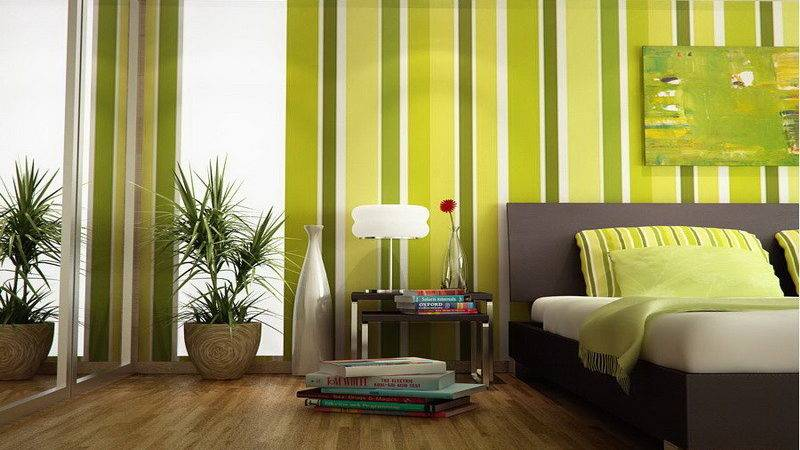 Striped Wall Green Bedroom Decorating Ideas Home