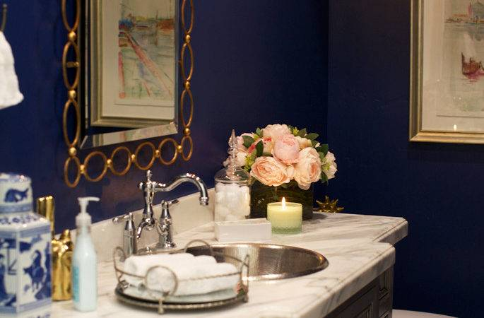 Style Home Powder Room Pink Peonies