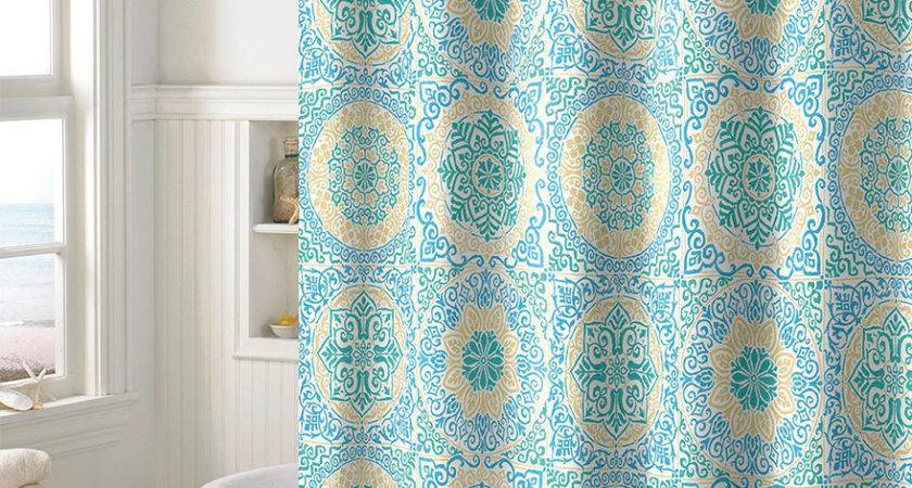 Style Lounge Teal Medallion Shower Curtain Stage Stores