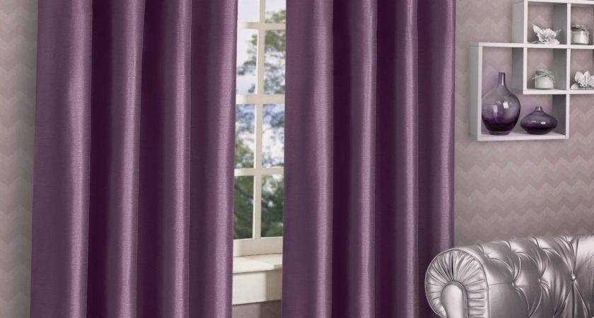 Stylish Ring Top Eyelet Lined Curtains Plain Faux