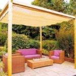 Stylish Wooden Pergola Stamped Patio Floor Simple