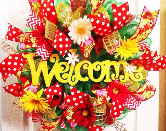 Summer Wreath Welcome Deco Mesh Wreaths Bypaula