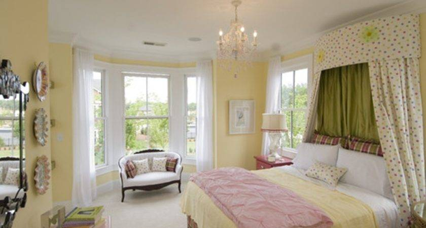 Sunny Yellow Wall Color Pink Blanket Nice Bedroom