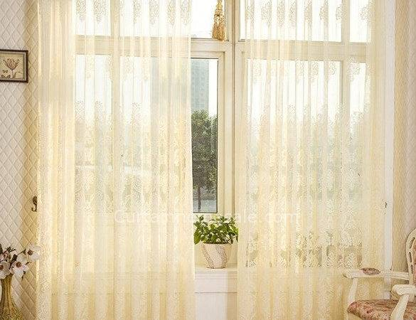 Sweet Lace Curtain Beige Color Sheer