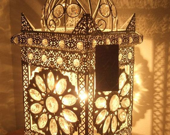 Table Lamp White Metal Stunning Moroccan Style Jeweled
