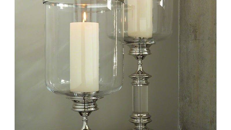 Tall Hurricane Candle Holder Clear Glass Nickel