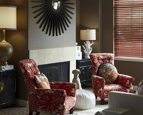 Taupe Red Living Room Contemporary