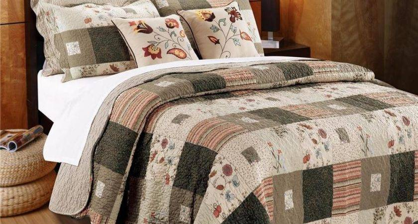 Taupe Tan Vintage Country Floral Flower All Cotton