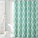 Teal Aqua Green Embossed Fabric Shower Curtain Tear