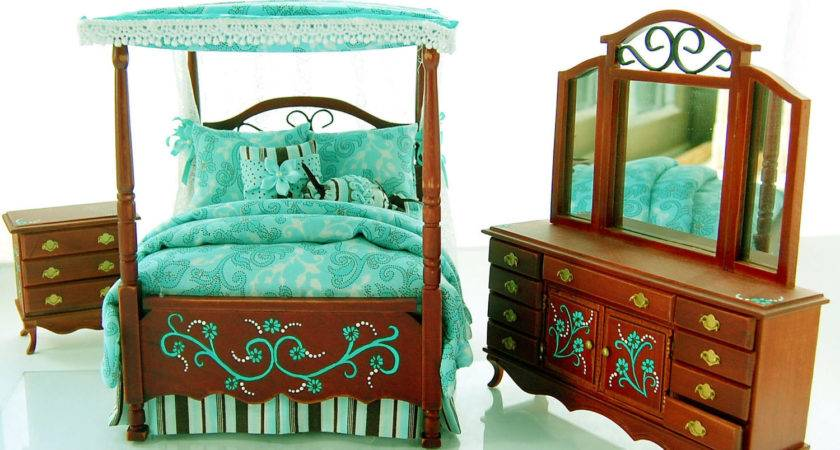 Teal Chocolate Brown Victorian Canopy Bedroom Set
