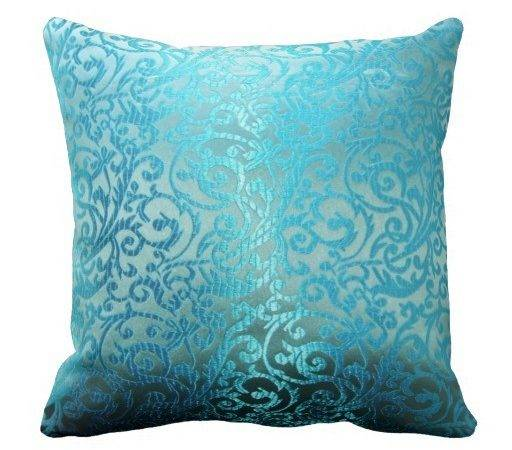 Teal Damask Look Throw Pillow Zazzle