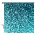 Teal Faux Glitter Texture Shower Curtain Matte