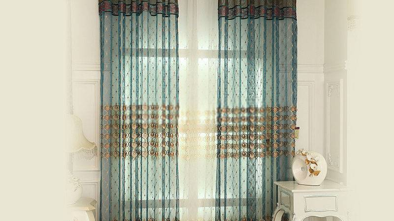 Teal French Style Best Peacock Feature Sheer Curtains