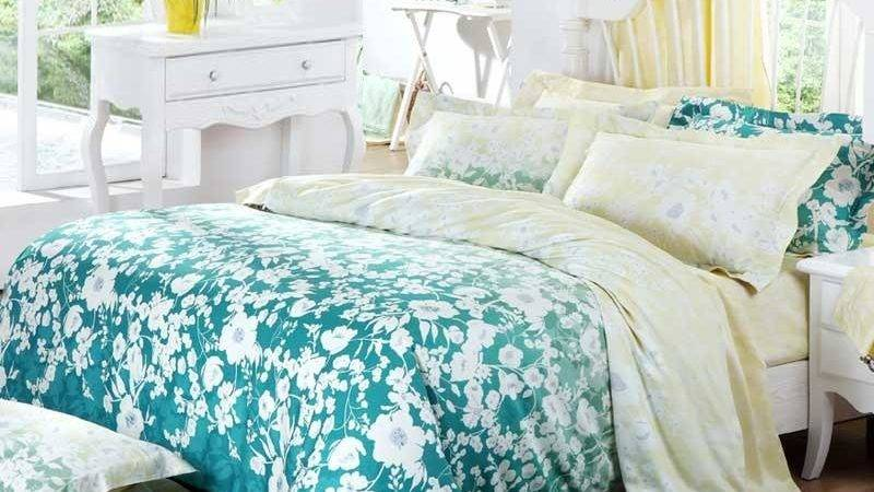 Teal Green White Pale Yellow Country Floral Print