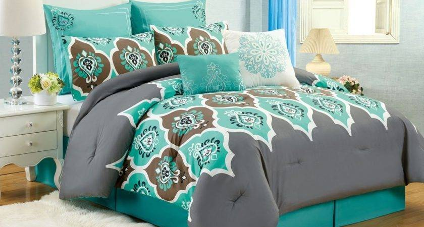 Teal Grey Ogee King Comforter Set Boho Gray Blue