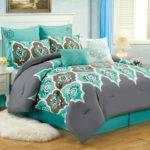 Teal Grey Ogee Queen Comforter Set Boho Gray Blue