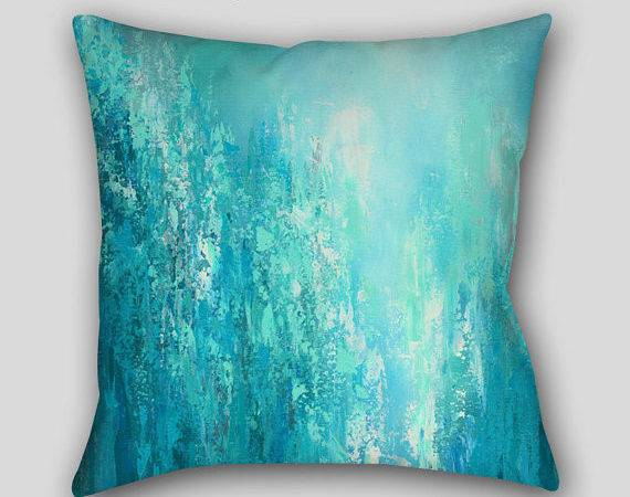 Teal Home Decor Accent Pillow Aqua Blue Gray Turquoise