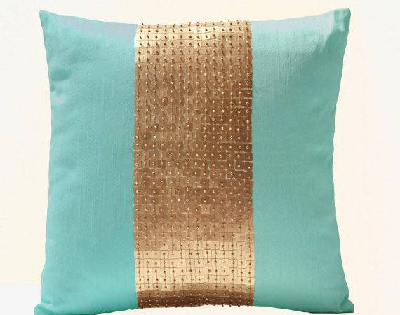 Teal Pillows Gold Color Block Silk Sequin