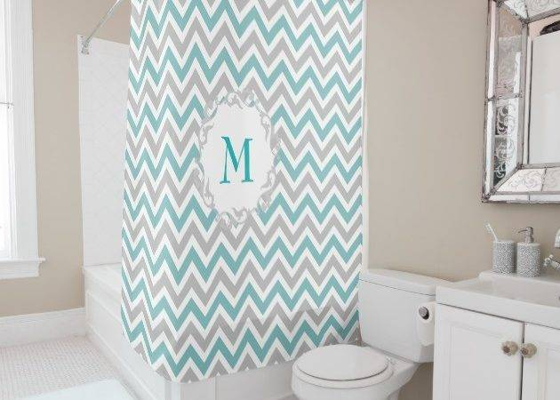 Teal White Chevron Bathroom