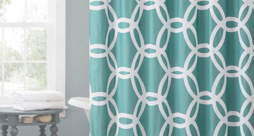 Teal White Embossed Fabric Shower Curtain Chain