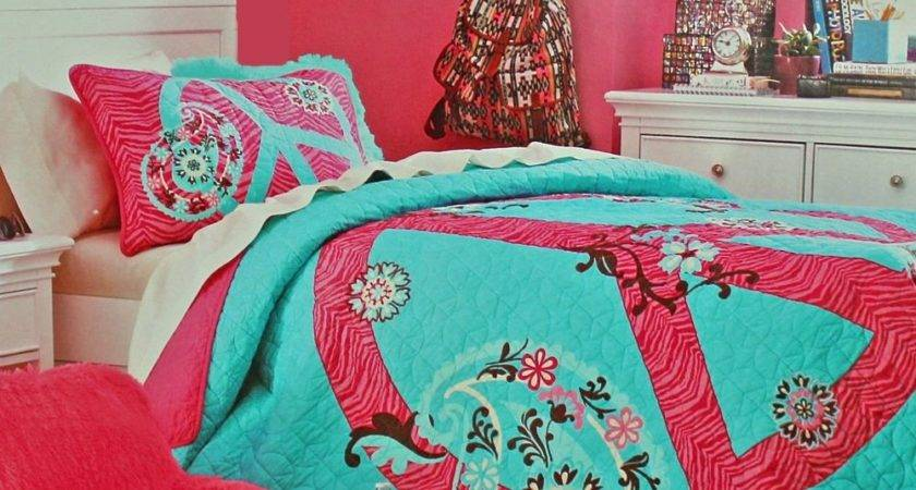 Teen Girls Pink Zebra Peace Sign Floral Teal Twin