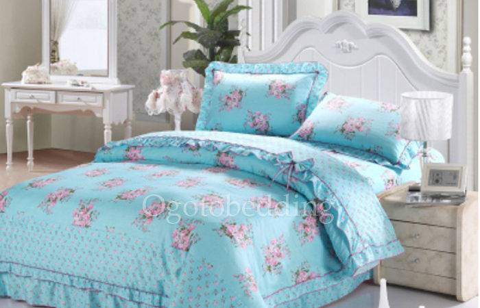 Textured Quality Teal Blue Floral Dreamy Comforter Sets