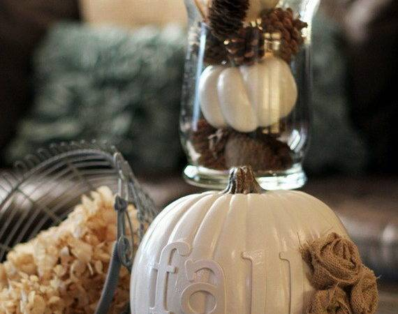 Thanksgiving Fall Autumn White Pumpkin Centerpiece