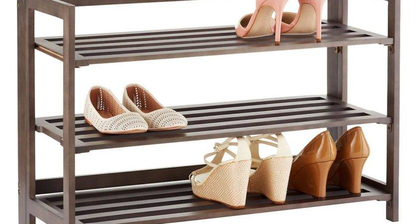 Tier Driftwood Folding Shoe Rack Container Store