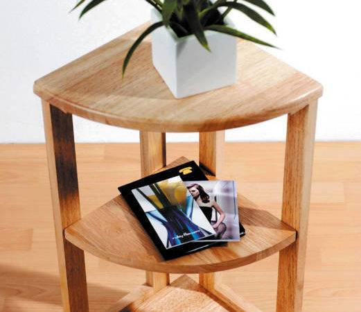 Tier Solid Wood Wooden Corner Unit Side Coffee Table