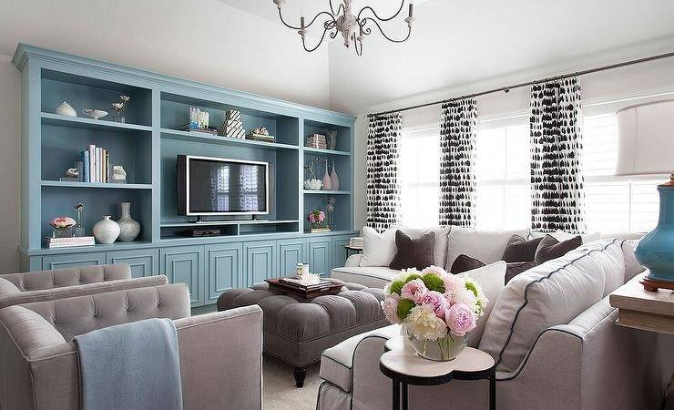 Tiffany Blue Brown Living Room