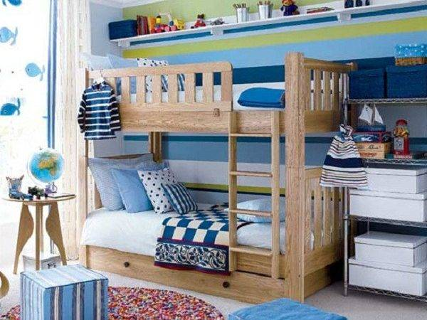 Toddler Room Ideas Blue Poufs Wooden Bunk Bed Dolphin