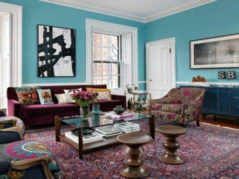 Top Burgundy Turquoise Living Room