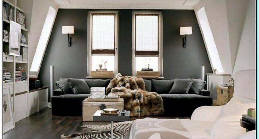 Top Furniture Grey Walls Brown Couch Gray