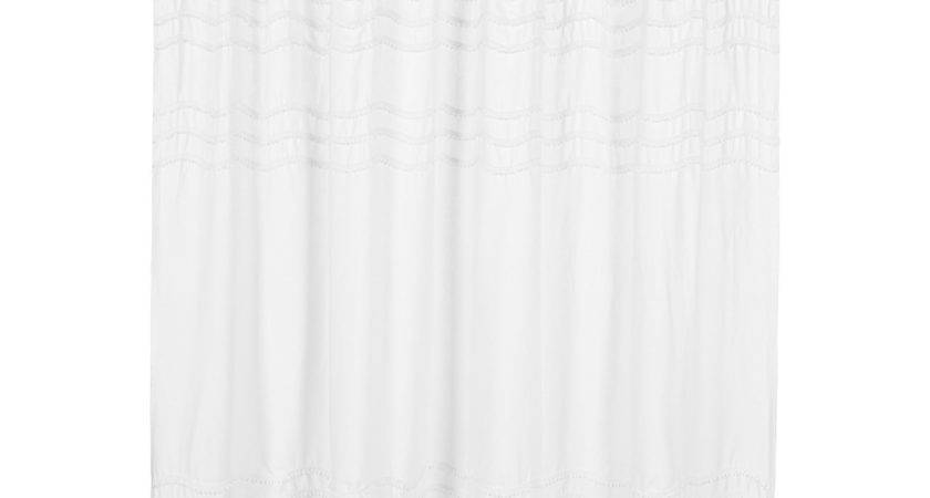 Top Linen Shower Curtain White Banded