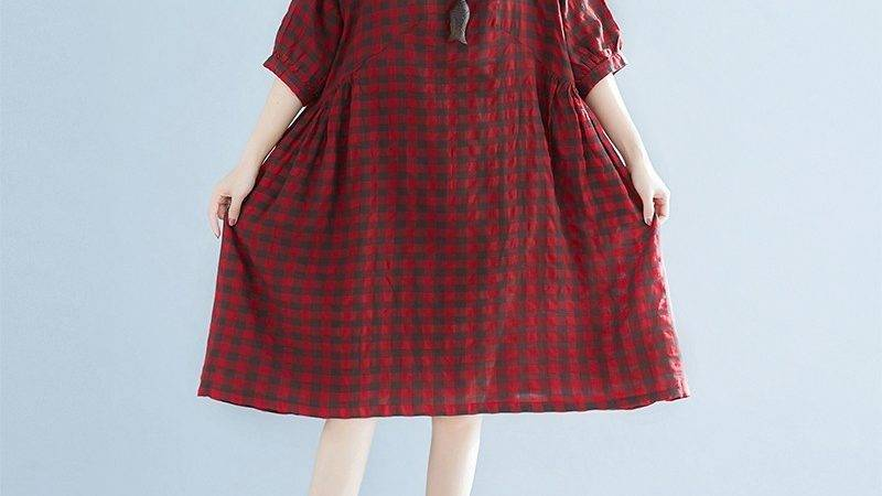 Top Quality Red Plaid Linen Dresses Plus Traveling