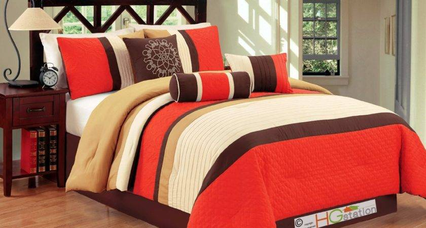 Total Fab Bright Burnt Orange Brown Comforter
