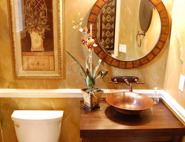 Traditional Brown Gold Guest Bathroom Oval Mirror