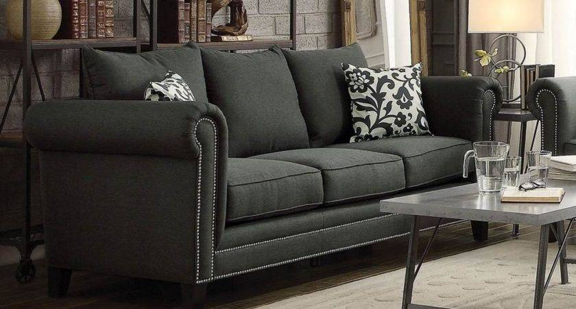 Traditional Charcoal Gray Grey Rolled Arm Linen Blend Sofa