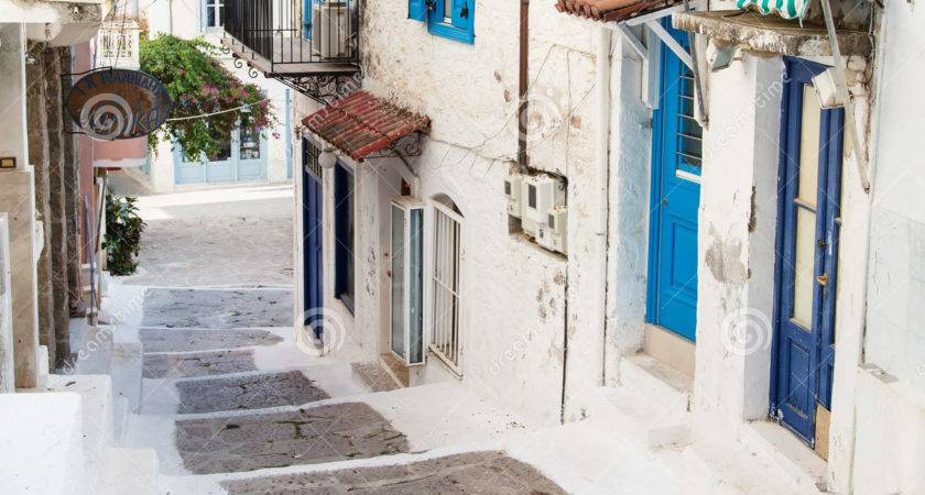 Traditional Houses Greek Islands Blue Colors