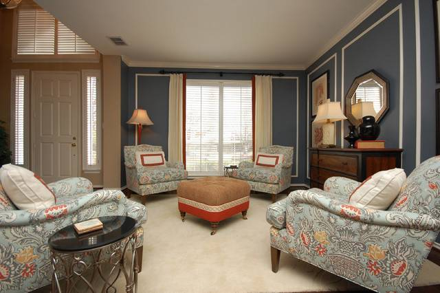 Traditional Soft Blue Living Room