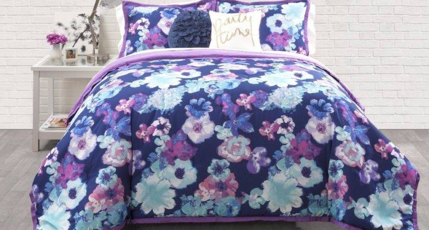 Transitional Blue Purple Girls Teens Floral Comforter