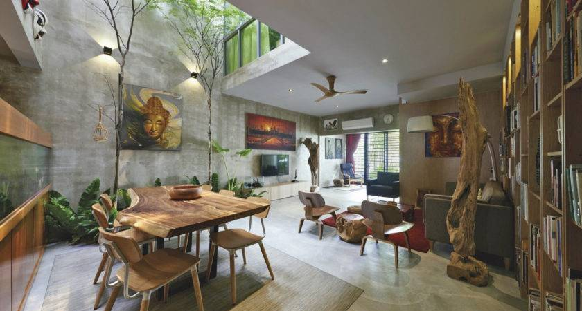 Trees Shrubs Create Faux Courtyard Inside House