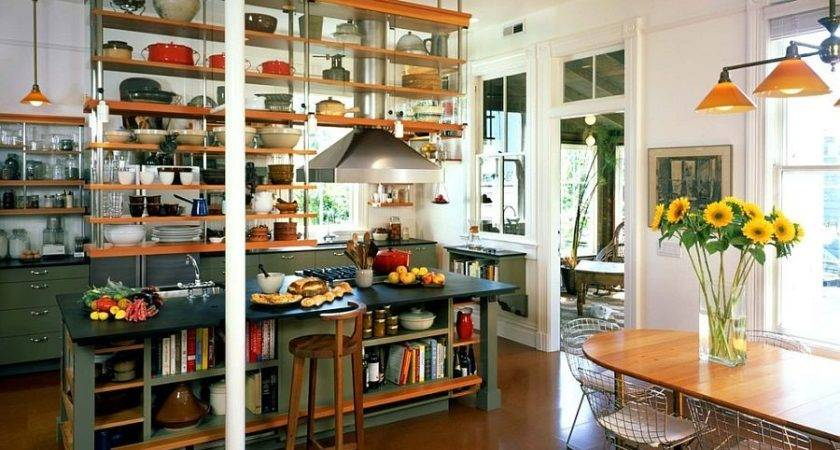 Trendy Display Kitchen Islands Open Shelving