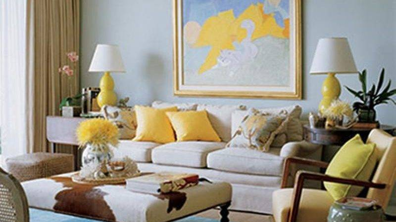 Triadic Color Scheme Red Yellow Blue Living Room Rich