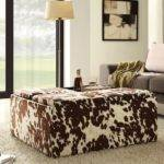 Tribecca Home Decor Brown White Cow Hide Storage Ottoman