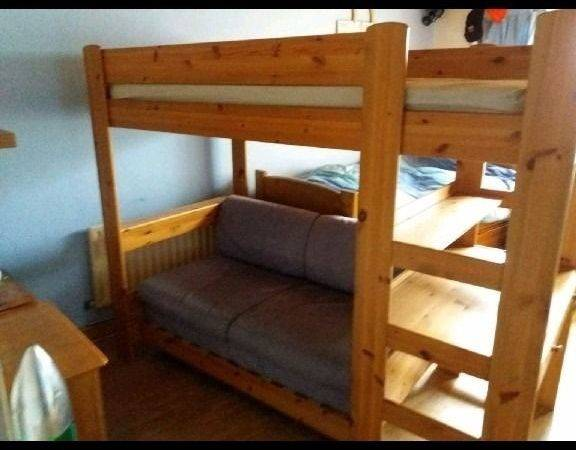 Triple Sleeper Bunk Bed Attached Computer Desk Fold